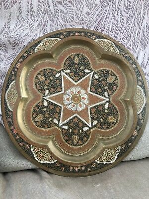 ANTIQUE COLLECTABLE FINELY ENGRAVED AND SOFT ENAMELLED Brass 12 INCH INDIAN Plat