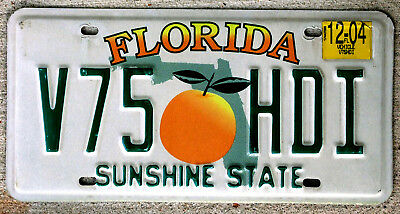 Florida Orange over Green State Outline License Plate with a 2004 Sticker