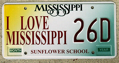 "Mississippi Sunflower School ""I Love Mississippi"" License Plate"