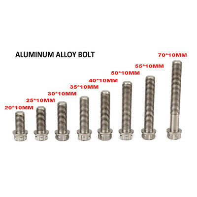 Universal Titanium Alloy M10 Bolts Screws 20 25 30 35 40 50 55 70mm Motorcycle
