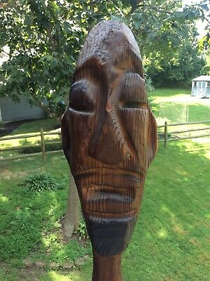 "32"" Wood statue WITCO chainsaw carving vintage mid century modern"