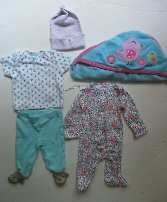 Carter's Baby Girls P Preemie Shirt Pants Sleeper Hat Towel 5 pc clothes Lot EUC