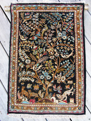 "Turkish Hand Knotted Silk  Rug - ""Tree of Life"" Motif 2' X 3'"