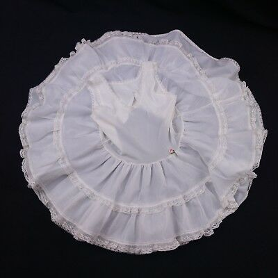 Vintage Her Majesty Toddler Petticoat Slip 4 White Lace Trim Frilly Made in USA