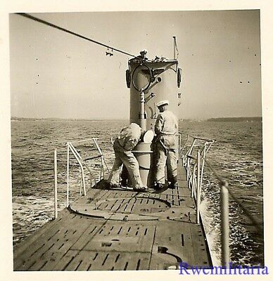 **RARE: Kriegsmarine Submariners on Deck of U-Boat Surfaced at Sea (#2)!!!**