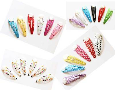 6 X GLUE ON Metal Colourful DIY Hair Snaps Clips with Pad Craft Bow - UK Seller