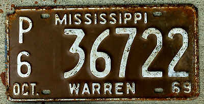 1969 White on Brown Mississippi License Plate WARREN