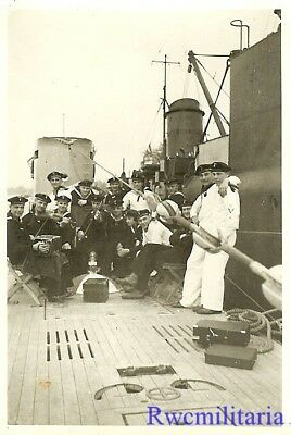 **RARE: Jovial Kriegsmarine Submariners on Deck of U-Boat Tied Up in Port!!!**