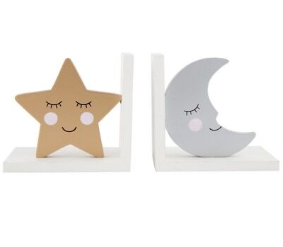 Sass & Belle Sweet Dreams Star & Moon Bookends Childrens Kids Baby Nursery Room