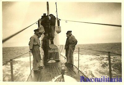 **RARE: Kriegsmarine Submariners on Deck & Tower of U-Boat Surfaced at Sea!!!**
