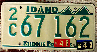 """Idaho Green Mountains """"A"""" Volcano License Plate """"2C"""" 1990 1991 Stickers"""