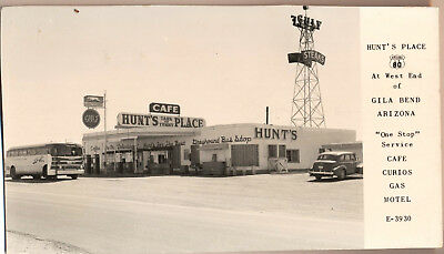 Gila Bend Arizona RPPC Hunt's Place Gulf Gas & Cafe 1940s Greyhound Bus & Car