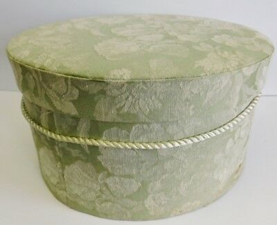 Fabric Covered Hat Box Green White Floral Flowers