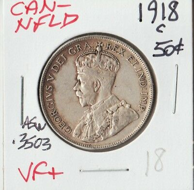 CANADA-NEWFOUNDLAND 1918-C | FIFTY 50 Cents | VF+