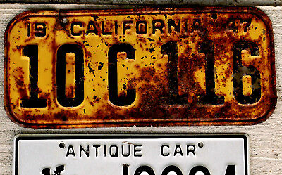 1947 Black on Orange California License Plate