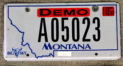 Blue on White Montana DEMO License Plate with a 2007 Sticker