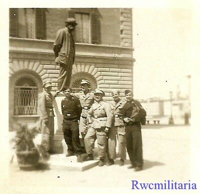 OCCUPATION Pic German Soldiers & Panzermen Posed by Statue on Greek Street!!!