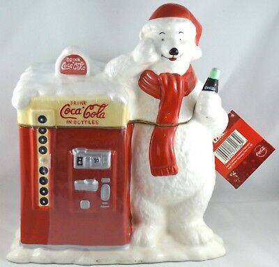 Vtg Coca Cola Ceramic Polar Bear Vending Machine Cookie Jar W/Tags, Orignal Seal