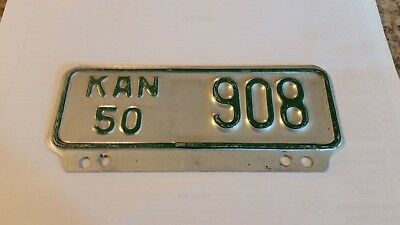1950 Kansas Motorcycle License Plate Excellent Condition