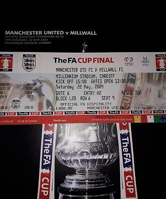 PROGRAMME + TICKET MANCHESTER UNITED v MILLWALL FA CUP FINAL 2004 MINT condition