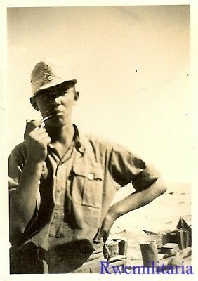 RELAXED Pose of Wehrmacht Afrika Korps DAK Soldier in Desert w/ Tobacco Pipe!!!