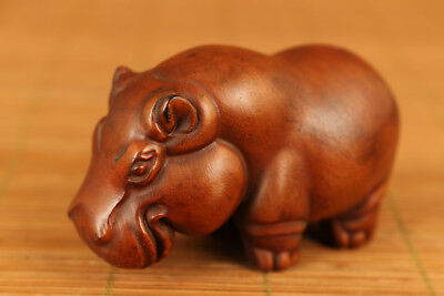 Rare chinese Old Boxwood Hand Carved Hippo Statue Netsuke Pendant Collectable