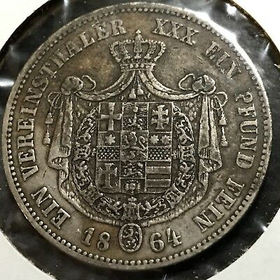 1864  German States Hesse Cassel Silver Thaler Rare Crown Coin