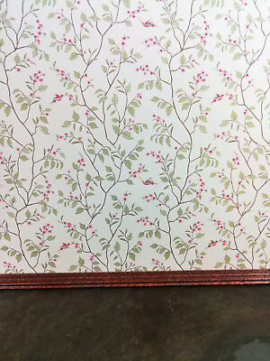 "Dollhouse Miniature Brodnax Wallpaper Green & Cream Leaves ""Cherry Blossom"" 1:12"