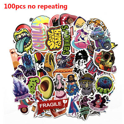 100pcs/pack No Repeating Guitar Decals Luggage Sticker Skateboard Stickers