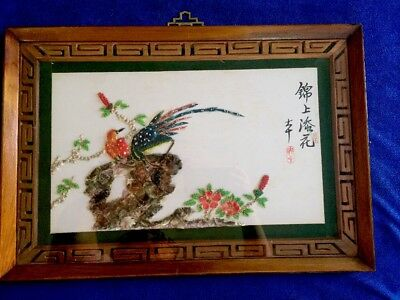Chinese Hand Craft Shell Picture Flower And Birds