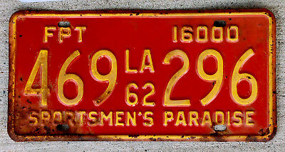 1962 Yellow on Red Louisiana Forest Products Truck [FPT]  License Plate