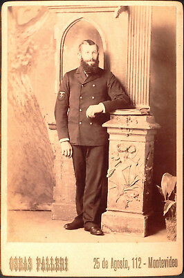 Argentina Navy Uniformed Sailor Cabinet Card Photo ~1896 Montevideo by Falleri