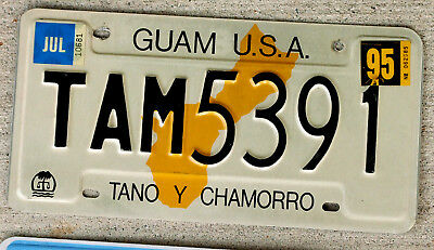"1994 Guam U.S.A. License Plate ""Tano Y Chamorro"" with a 1995 Sticker"