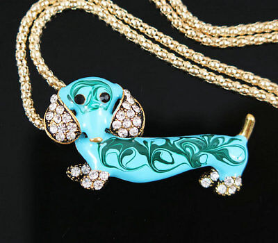 lovely Gold Plated Rhinestone Cute Dachshund Dog Pendant Necklace Sweater Chain