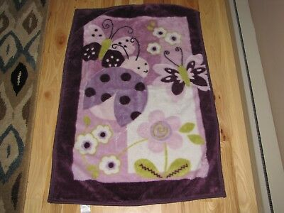 Lambs & And Ivy Baby Girl Blanket Purple Lavender Butterfly Ladybug Flower Green