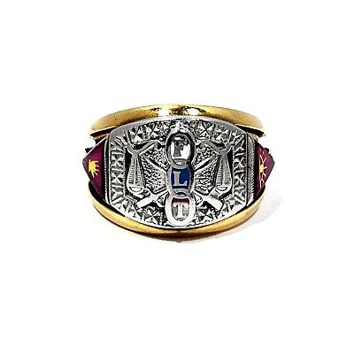 PSCo SOLID 10K YELLOW & WHITE GOLD ODD FELLOWS RING ~ SIZE 9 3/4