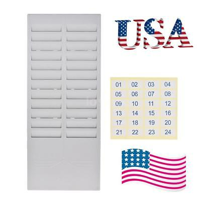 24 Pocket Slots Plastic Time Card Rack Holder Wall Mounted for Office Factory