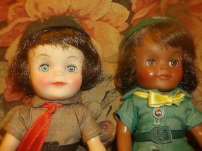 8-in Effanbee Girl Scout & Brownie dolls vintage 1960s vinyl excellent condition