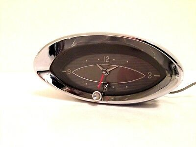Vintage Oval Chrome Car Clock by Hamilton Watch Co. 12V Dash Clock - WORKS