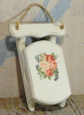Wood Sled/Wall Decor/Table Top/White/Pink Roses/Shabby Cottage/BoHo Chic