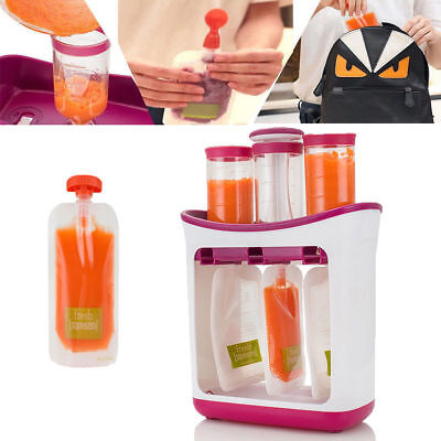 Baby Feeding Food Squeeze Station Toddler Infant Fruit Maker Dispenser Storage u