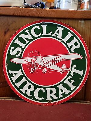 Vintage Sinclair Air Craft Oil And Gasoline Advertising Porcelain Sign 12""