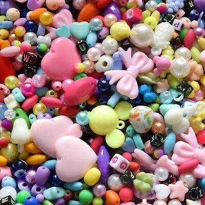 100pcs Assorted Plastic Resin Loose Beads Bulk Lot Craft Jewelry DIY Making
