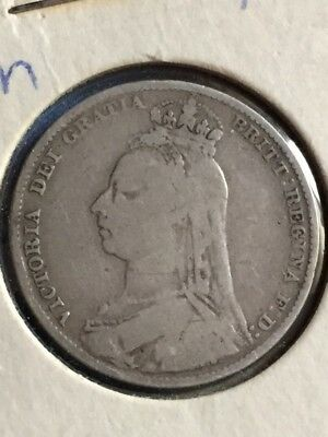 1891 Great Britain Shilling plus an 1820 Six Pence, two nice~looking coins!