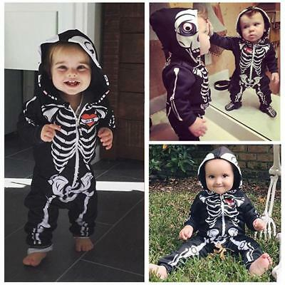 Halloween Baby Boys Girls Skull Skeleton Hooded Romper Jumpsuit Bodysuit Costume