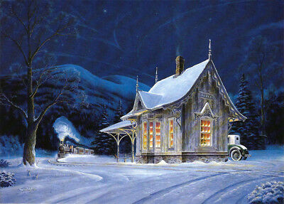 Train Depot Railroad Locomotive Home For Christmas Snow Ford SIGNED by Souders