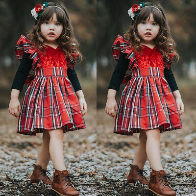 USA Canis Toddler Kids Baby Girls Plaids Party Pageant Xmas Tutu Dress Clothes