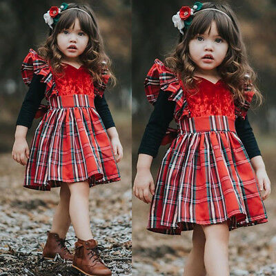 AU Canis Toddler Kid Baby Girls Plaid Sleeveless Party Pageant Xmas Formal Dress