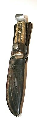 Vintage Case Fixed Blade Knife Stag Antler With Leather Sheath