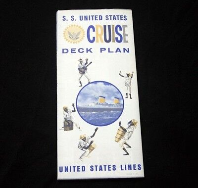 UNITED STATES LINES SS UNITED STATES Color Coded Deck Plan